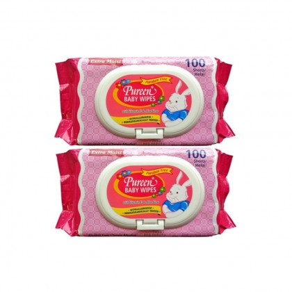 PUREEN BABY WIPES (PINK) 2 x 100'S